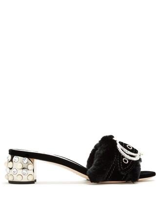 fur pearl embellished sandals black shoes