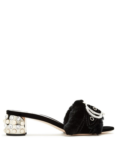 Miu Miu fur pearl embellished sandals black shoes