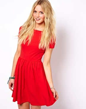 ASOS | ASOS Skater Dress With Slash Neck And Short Sleeves. at ASOS