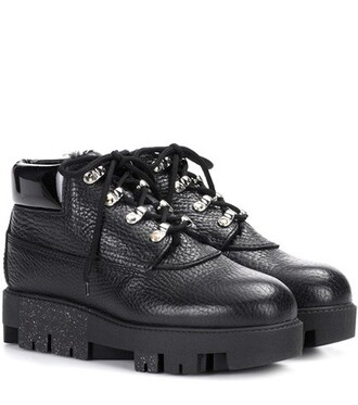 shearling boots boots leather black shoes