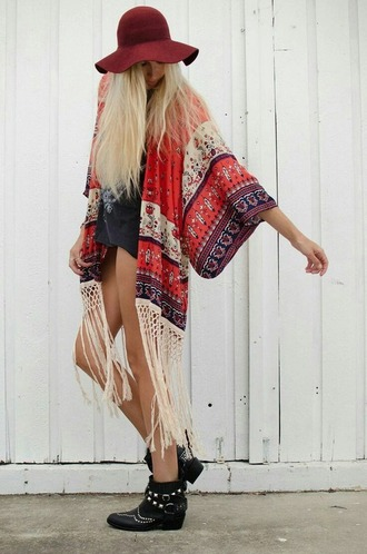 cardigan kimono boho chic fashion franges franje red coat hippie jacket hat