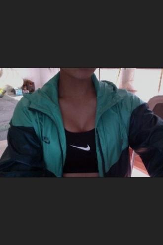 jacket green vintage nike vintage nike white black coat sportswear nike bra nike sweater nike sportswear sports bra sports top top