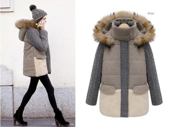 jacket fur beige jacket beige knitted jacket brown jacket cute lovely fashion grey coat winter coat warm