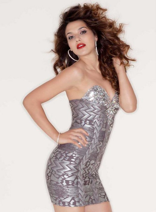 Bqueen Beaded Strapless Bandage Dress H469