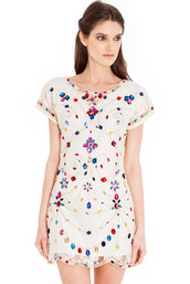dress,lace dress,embellished,jewelled,scalloped,shift dress,cream,navy,cap sleeve