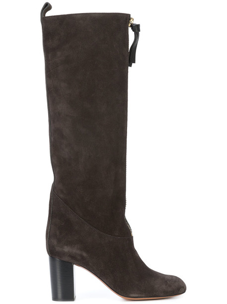 Chloe high women knee high leather suede black shoes