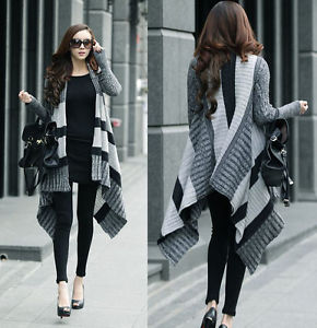 Gray Women Girl Fashion Long Irregular Stripe Knit Knitwear Sweater Cardigan New | eBay