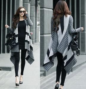Gray Women Girl Fashion Long Irregular Stripe Knit Knitwear Sweater Cardigan New | eBay