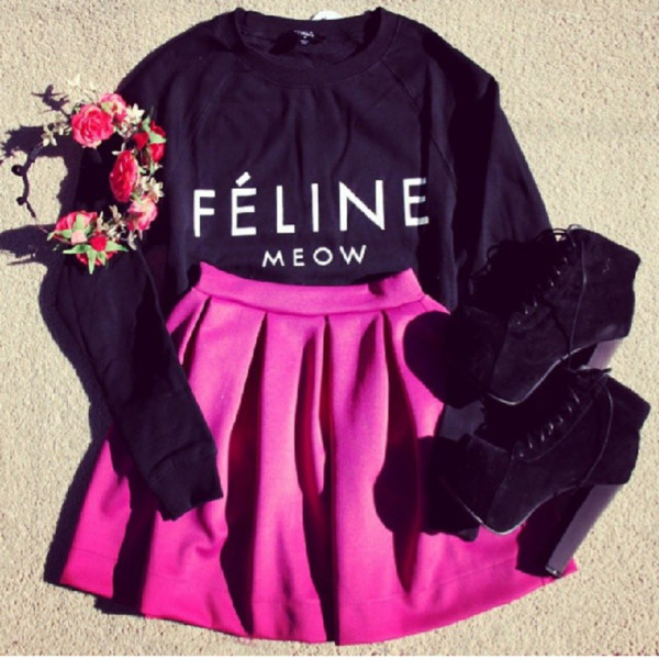 t-shirt shoes skirt pink skirt shirt feline