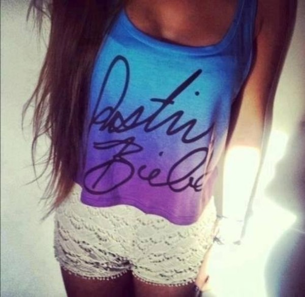 shirt justin bieber shorts tank top