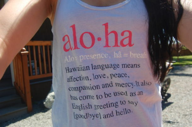 aloha tank top grey white red letters quote on it definition pronounciation summer hawaii love peace english hello goodbye bag shirt vest white tank top
