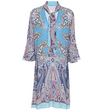 dress printed dress blue