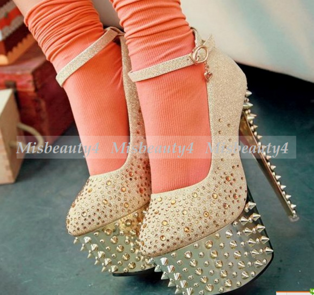 New Arrival Glitter Diamonds Studded Spike Party Queen Strappy
