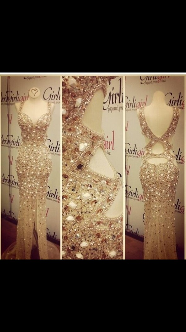 dress gold sequins long prom dress