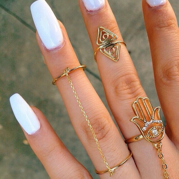 gold jewels rings chain ring hamsa eye hanwhure nail polish acrylics acrylics jewelry, tumblr, rings gold rings mid finger rings gold midi rings hand jewelry