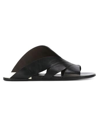 women sandals flat sandals leather black shoes