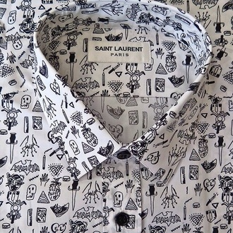blouse yves saint laurent chemise black and white paris