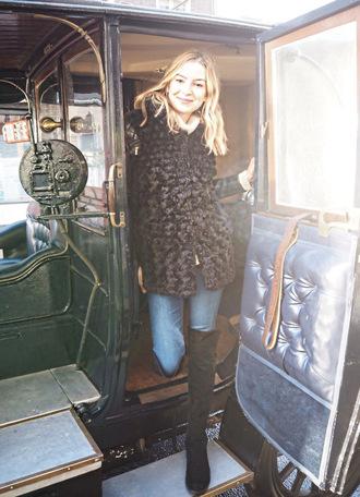 cocos tea party blogger jeans fuzzy coat black coat