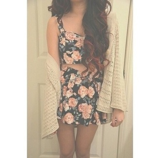 top floral crop top floral skirt cardigan in skin color