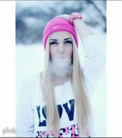 sweater,beanie,clothes,white,pink,hat