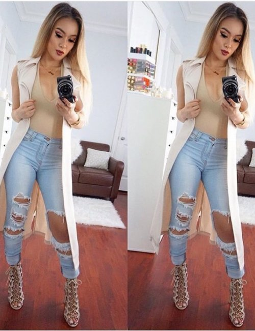 Women's Denim Ripped Tassels High Waisted Full Length Jeans