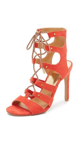 lace up sandals sandals lace orange red shoes