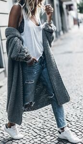cardigan,blogger,mikuta now,streetstyle,streetwear,street,shot from the street,lace bra,casual,ripped jeans,denim,jeans,oversized cardigan,oversized,grey cardigan,knitted cardigan,knitwear,long cardigan,summer outfits,white tank top,classic,adidas shoes,fashion inspo,boyfriend jeans,style,comfy,cozy,women,instagram,minimalist,trendy,basic