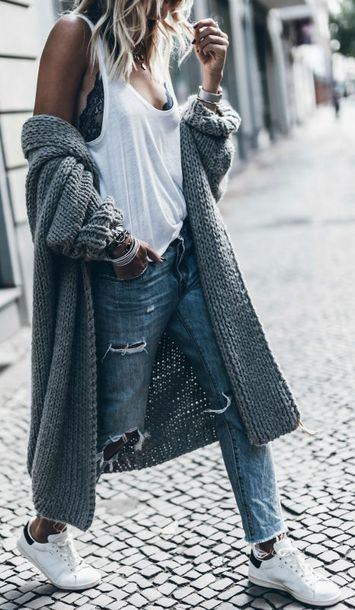 cardigan blogger mikuta now streetstyle streetwear street shot from the street lace bra casual ripped jeans denim jeans oversized cardigan oversized grey cardigan knitted cardigan knitwear long cardigan summer outfits white tank top classic adidas shoes fashion inspo boyfriend jeans style comfy cozy women instagram minimalist trendy basic
