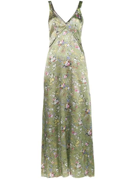 R13 dress slip dress women floral print silk green
