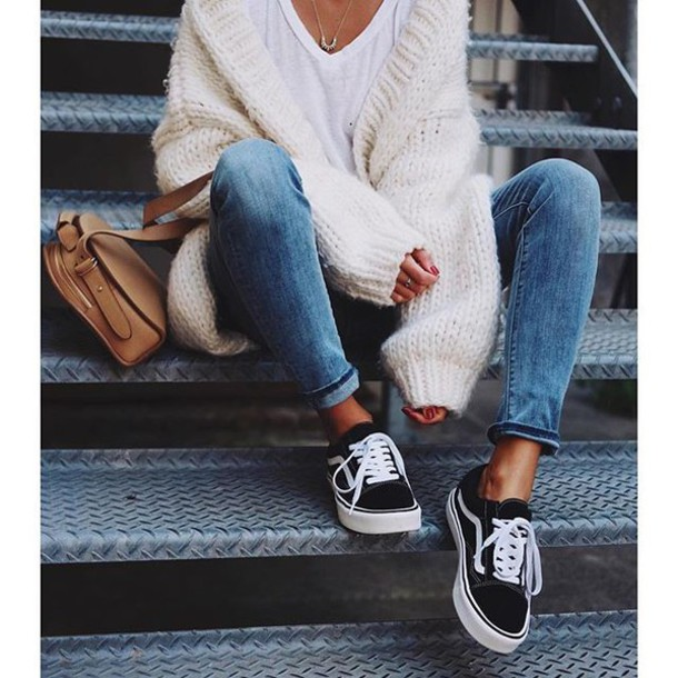 64a7e4713b shoes tumblr vans black sneakers sneakers denim jeans blue jeans cardigan  white cardigan bag nude bag