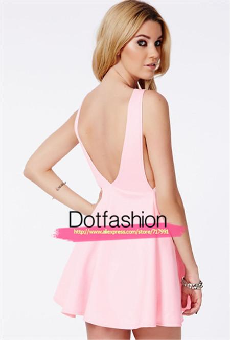2014 New Summer Party Brand Pink Round Neck Sleeveless Backless Ruffle Skater Fashion Casual Dress | Amazing Shoes UK
