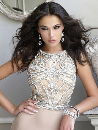 dress fashion elegant sparkle classy gown formal nude beige dressofgirl