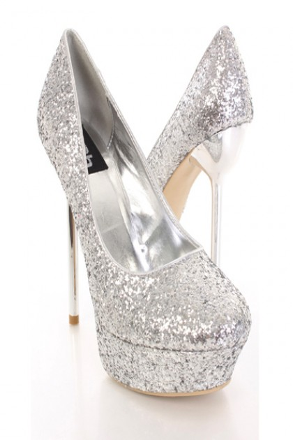 81da664c5b4 Lush Silver Glitter Sparkly Stiletto High Heel Platform Pump Court ...
