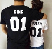 shirt,t-shirt,top,queen,couple sweaters,black,white,king,number,matching couples,etsy,king and queen