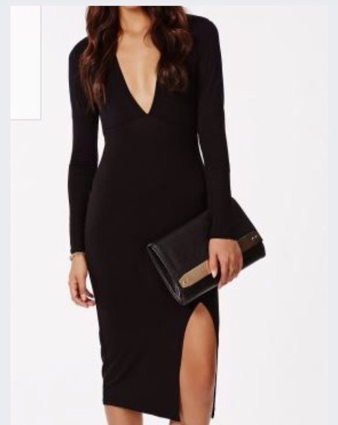 dress side split midi long sleeves black dress