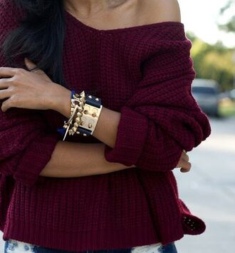 sweater knitted sweater red knit sweater burgundy burgundy red sweater jewels