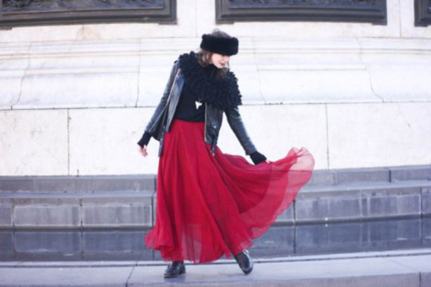 mahayanna blogger maxi skirt red skirt leather jacket winter outfits jacket jeans shoes