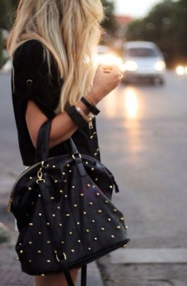 black bag bag studs studded bag