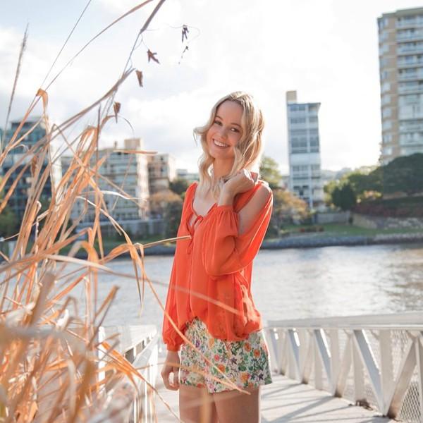shorts floral orange sheer top shirt cover up cute scalloped shopfashionavenue blouse