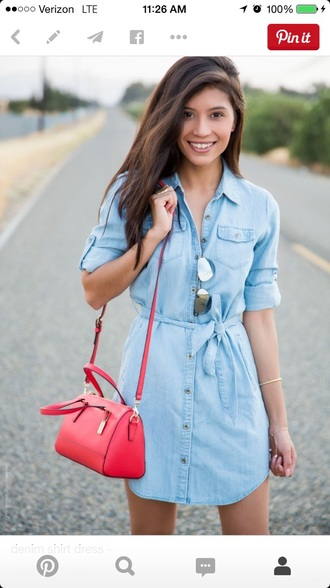 dress blue chambray shirt dress