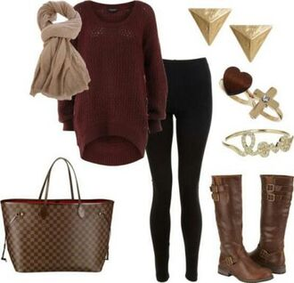 sweater red jewelery black jeans cute handbag knitted sweater red sweater oversized sweater brown leather boots boots scarf red knit sweater shoes pants shirt winter outfits black leggings warm casual