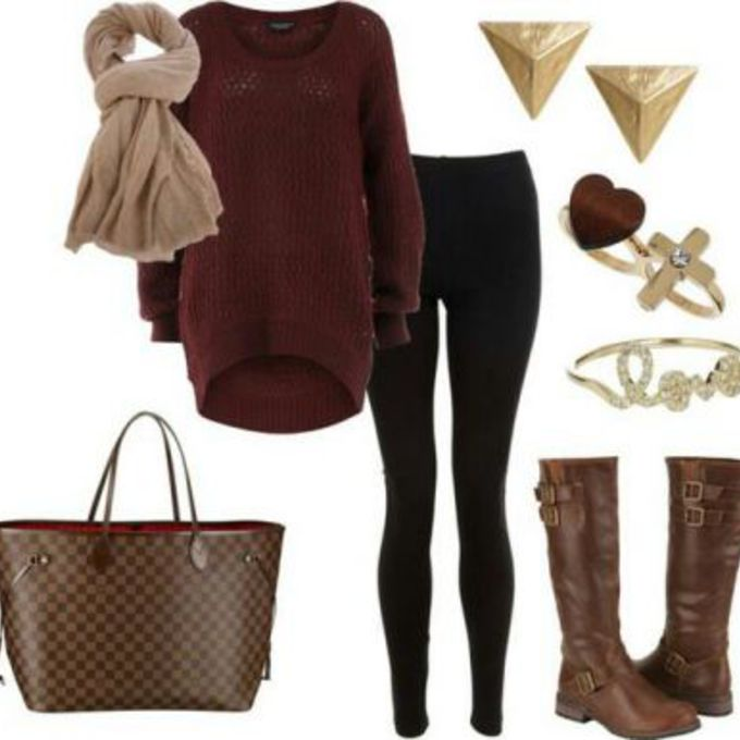 sweater boots oversized sweater jewels black jeans cute handbag knit sweater red sweater brown leather boots red knit sweater black leggings shirt winter outfits warm causal scarf red