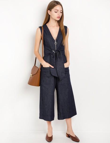 4e5b6eb429 jumpsuit stretch denim waist tie jumpsuit by new revival denim denim  jumpsuit waist tie dress Easy