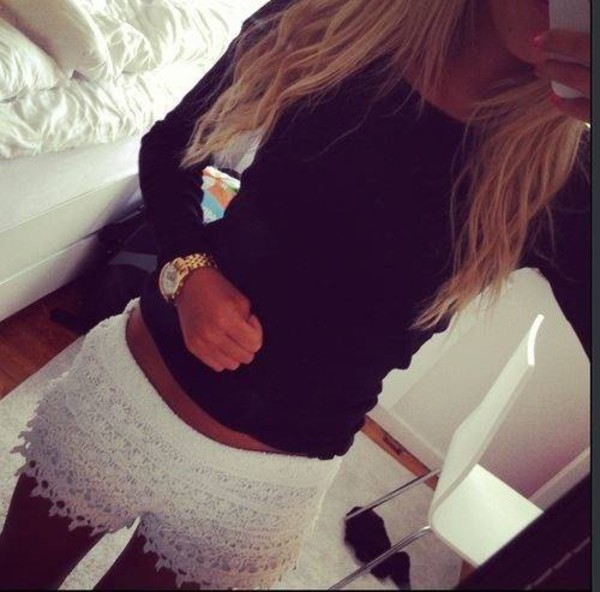 shorts lace shorts white lace shorts jewels white lace t-shirt long sleeves shirt
