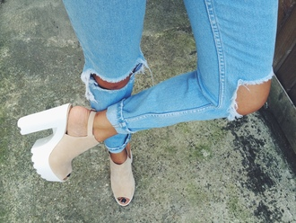 shoes jeans pink shoes peep toe heels platform shoes cute spring outfits spring 2016 style fashion white platforms ripped jeans chunky sole chunky heels heels chunky shoes cream high heels wedges peep toe beige boots