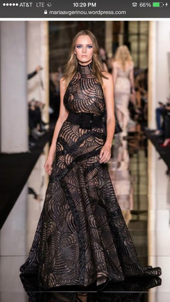 dress black dress versace formal dress model fashion week 2015