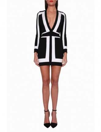 dress amrezy black and white dress plunge v neck mini dress