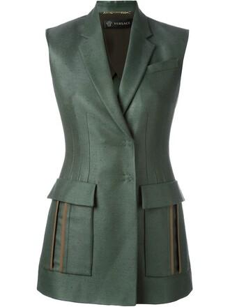 blazer sleeveless green jacket
