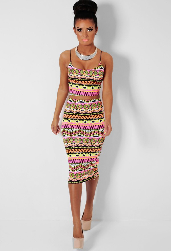 Dolly Mix Multicolour Print Crop Top and Midi Skirt Two Piece ...