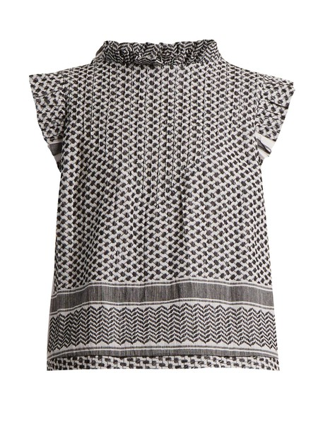 CECILIE COPENHAGEN top jacquard cotton white black